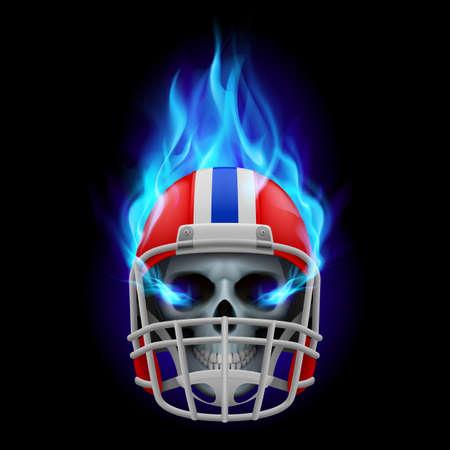 Blue football burning helmet with skull on a black Vector