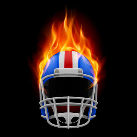 Blue football burning helmet on a black background Vector