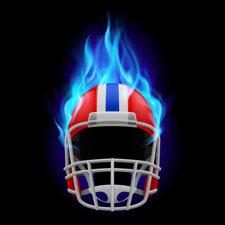 Red football burning helmet on a black background Vector