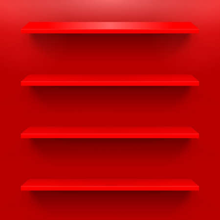 Horizontal shelves on the red wall