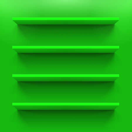 Horizontal green bookshelves on the  wall Illustration