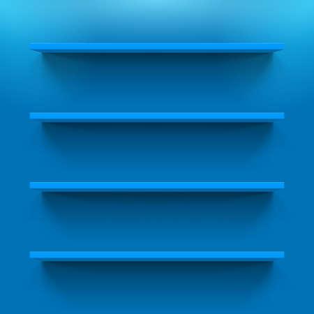 Horizontal blue bookshelves on the  wall