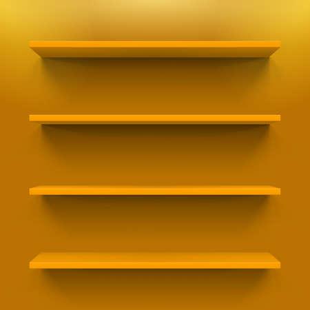 display size: Four horizontal orange bookshelves on the orange wall