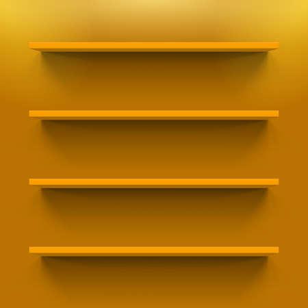 Four horizontal orange shelves on the orange wall
