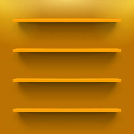 Four horizontal orange shelves on the  wall