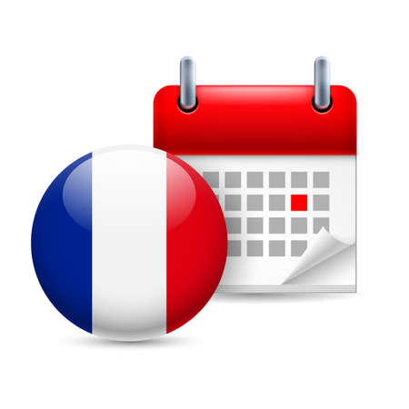 national holiday: Calendar and round France flag icon. National holiday in France Illustration