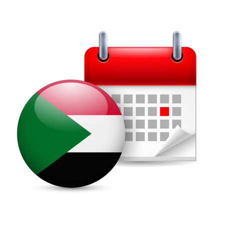 national holiday: Calendar and round Sudan flag icon. National holiday in Sudan