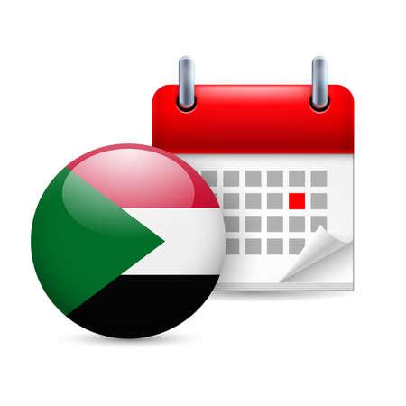 national holiday: Calendar and round Sudan flag icon. National holiday in Sudan