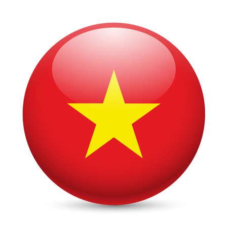 Bandiera del Vietnam come rotondo icona lucido. Pulsante con bandiera Vietnam Archivio Fotografico - 35709571