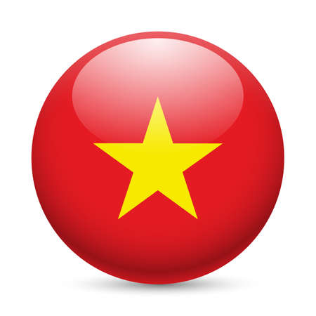 Flag of Vietnam as round glossy icon. Button with Vietnam flag