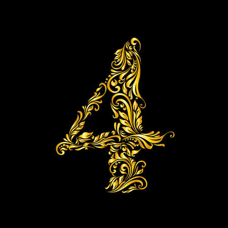 richly: Richly decorated four digit on black background.