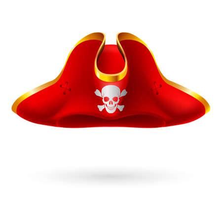 頭蓋骨と交差した骨の海賊のシンボルと赤のコックド ハット  イラスト・ベクター素材