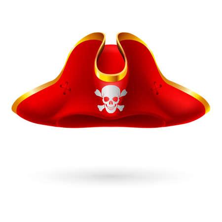 Red cocked hat with pirate symbol of skull and crossed bones Иллюстрация