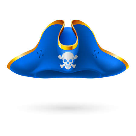 Blue cocked hat with pirate symbol of skull and crossed bones