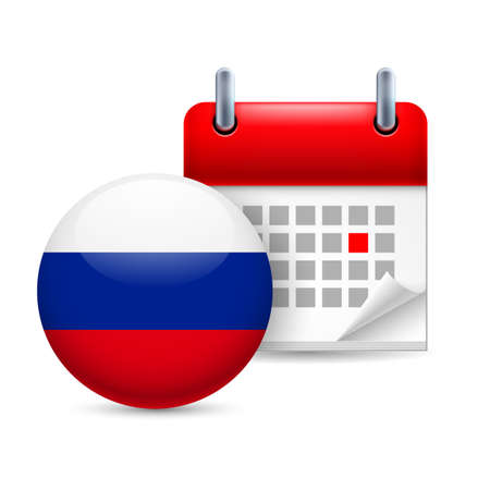 federation: Calendar and round Russian Federation flag icon. National holiday in Russian Federation Illustration