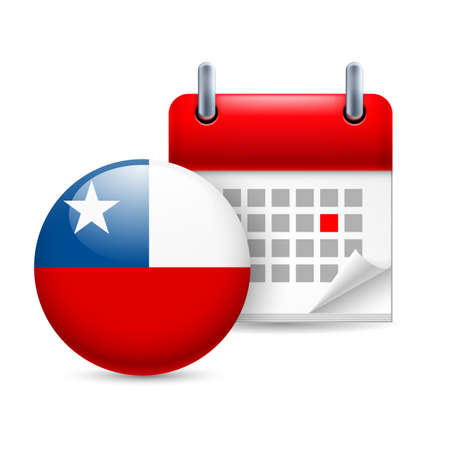 bandera de chile: Calendario y ronda icono de la bandera de Chile. Fiesta nacional en Chile Vectores