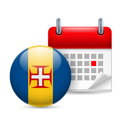 madeira: Calendar and round Madeira flag icon. National holiday in Madeira