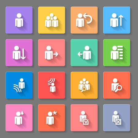 move arrow icon: Set of icons, avatar and people silhouette isolated in multicolored squares