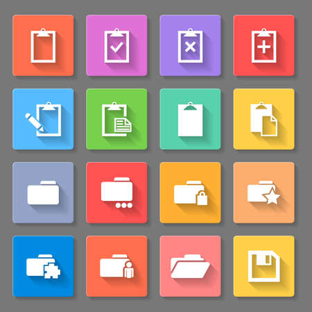 Set of icons, folders, and paper plates isolated in multicolored squares Vector