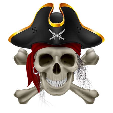 pirate skull: Cr�neo del pirata en el pa�uelo rojo y sombrero de tres picos con los huesos cruzados y mech�n de pelo
