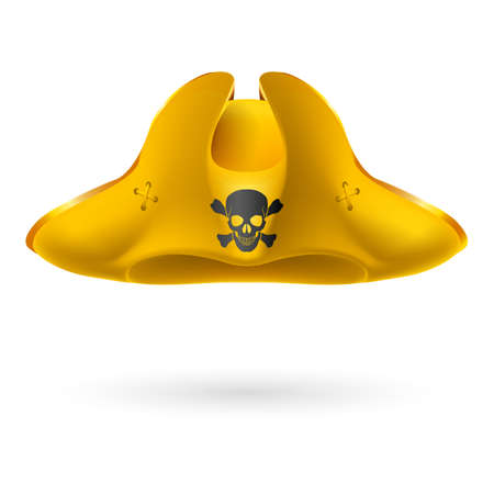 Yellow cocked hat with pirate symbol of skull and crossed bones
