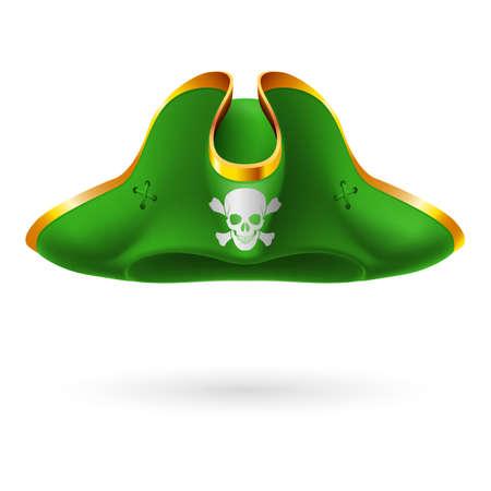 skull and crossed bones: Sombrero de tres picos verde con el s�mbolo pirata de los huesos del cr�neo y cruzadas