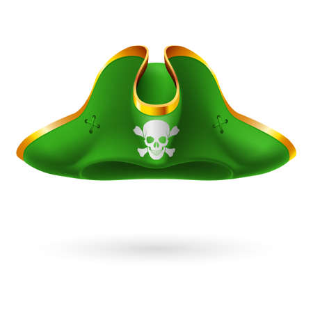 Green cocked hat with pirate symbol of skull and crossed bones