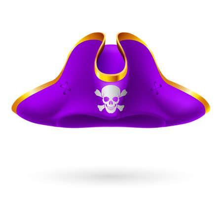 Violette Dreispitz mit Piratensymbol von Schädel und gekreuzten Knochen