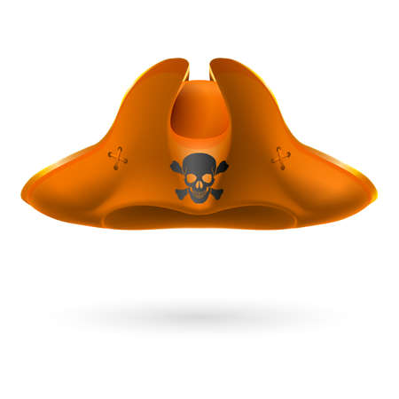 terrify: Orange cocked hat with pirate symbol of skull and crossed bones