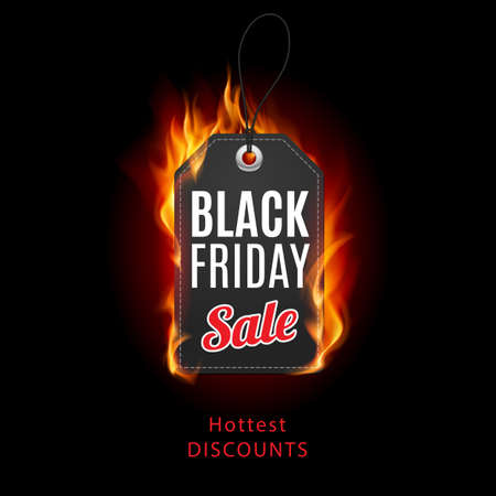 discount banner: Fire label. Black Friday discounts, increasing consumer growth.