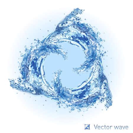 olas de mar: Ilustraci�n de Cool remolino onda de agua sobre fondo blanco para el dise�o