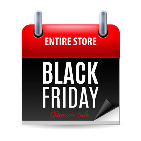 Black Friday discounts, increasing consumer growth. Calendar icon Vector
