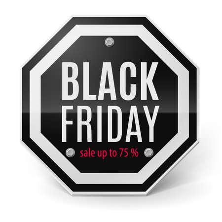 figuration: Label Black Friday discounts. Illustration on white