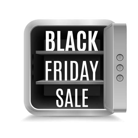 figuration: Black Friday discounts in open safe on white background