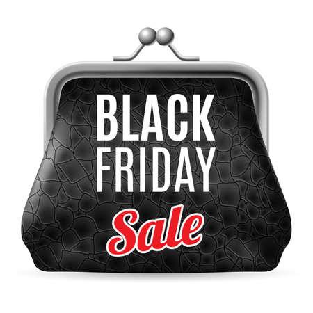 Black Friday Rabatte, steigende Konsumwachstum. Schwarzes Leder Geldbörse Standard-Bild - 36465784
