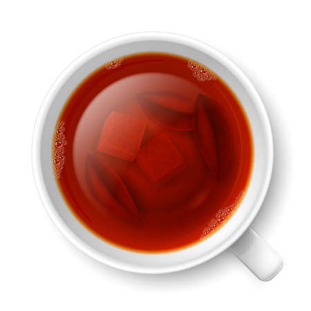 cane sugar: Cup of black tea with lumps of yellow cane sugar and tea leaves on the bottom over white background Illustration