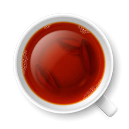 black tea: Cup of black tea with tea leaves at the bottom over white background