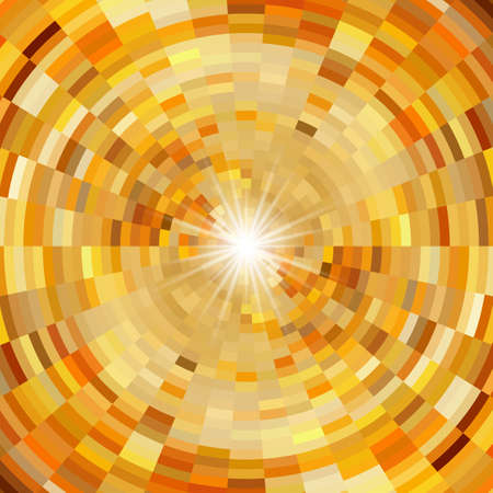 Abstract mosaic background in warm colors and flash of light in centre Illustration