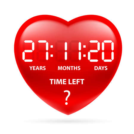 countdown: Red heart with a countdown. Illustration on white background