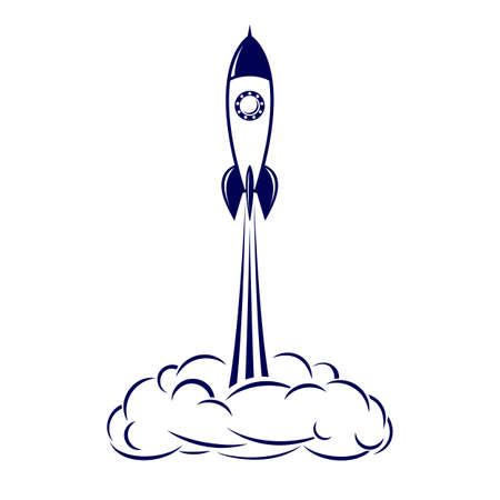 brandweer cartoon: Geschilderd ruimteraket opstijgt op de witte achtergrond Stock Illustratie