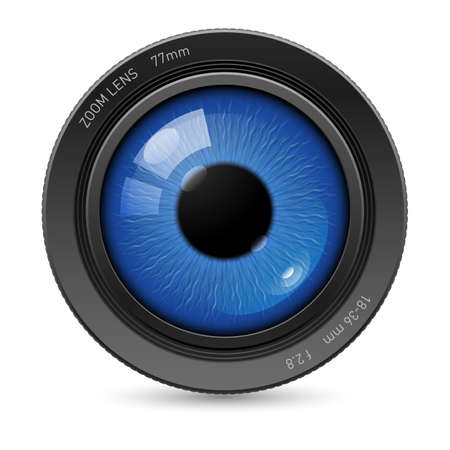 the photographer: Camera lens with blue eyes in the center