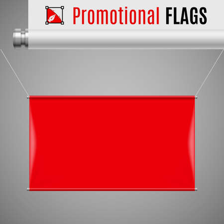 threads: Gorizontal red promotional flag hanging on threads on a gray background