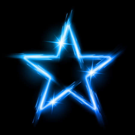 Neon glowing blue star with reflection in space