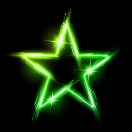 Neon glowing green star with reflection in space Vector