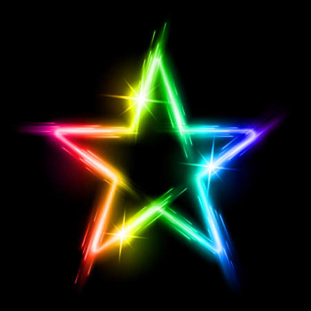 iridescent: Neon glowing iridescent light star with reflection in space