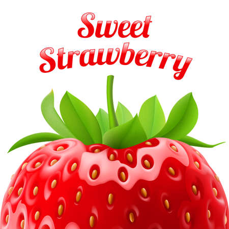refreshment: Poster sweet strawberries. Fruit and dessert. Space for text