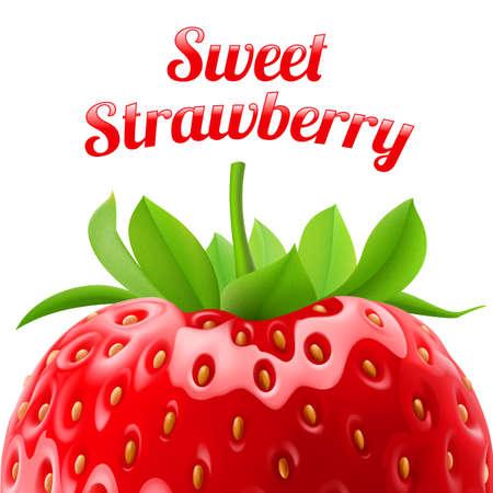 Poster zoete aardbeien. Fruit en dessert. Ruimte voor tekst