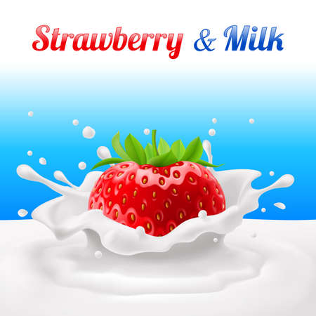 milk products: Strawberries dipped in milk with splashes. Drop and sweet, food and fresh and liquid