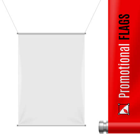 promotion: White promotional flag hanging on threads on a gray background