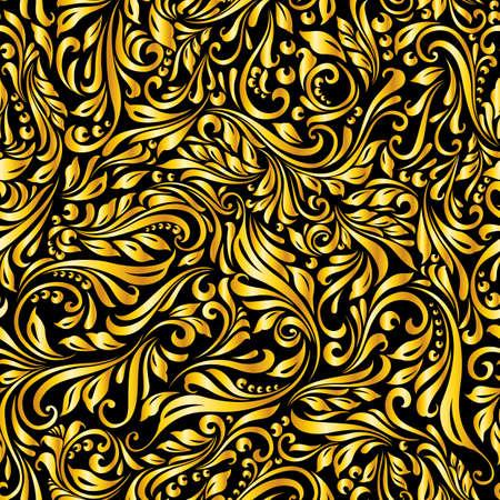 Illustration of seamless abstract golden floral  vine pattern Çizim